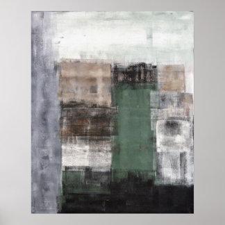 Verde, gris y poster de la pintura del arte abstra