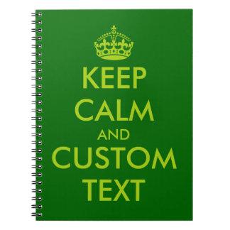 Verde guarde el texto personalizado el | tranquilo libretas espirales