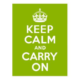 Verde guarde la calma y continúe postal