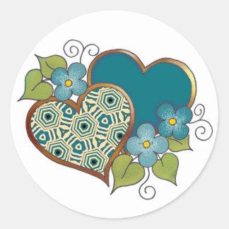 Verde Hearts-020 y oro Pegatina Redonda