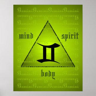 Verde holístico del alcohol del cuerpo de la mente póster