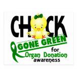 Verde ido polluelo 2 de la donación de órganos postal