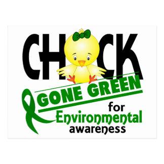 Verde ido polluelo ambiental 2 tarjetas postales