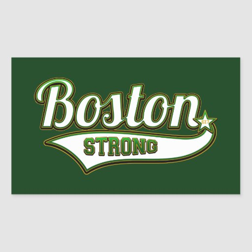VERDE irlandés fuerte de Boston Pegatina Rectangular