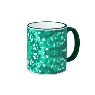 Verde islámico del arte geométrico taza a dos colores