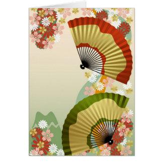 Verde japonés de la fan 3 tarjeta de felicitación