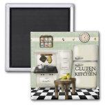 Verde libre de la cocina del gluten imán cuadrado