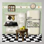 Verde libre de la cocina del gluten posters