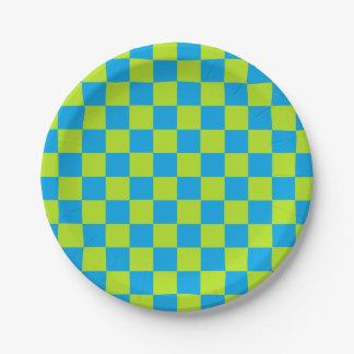 Verde lima a cuadros y turquesa plato de papel de 7 pulgadas