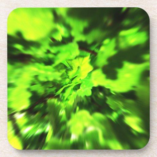 Verde lima brillante y extracto verde oscuro posavaso
