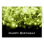 Verde lima chispeante de las luces del cumpleaños felicitación