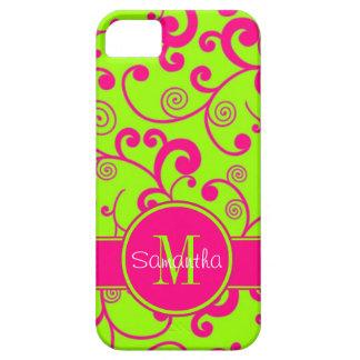 Verde lima con el monograma rosado del personaliza iPhone 5 Case-Mate fundas