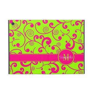 Verde lima con el monograma rosado del personaliza iPad mini carcasas