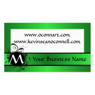 Verde lima con el monograma tarjetas de visita