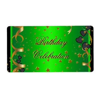 Verde lima de la celebración de la fiesta de cumpl etiqueta de envío