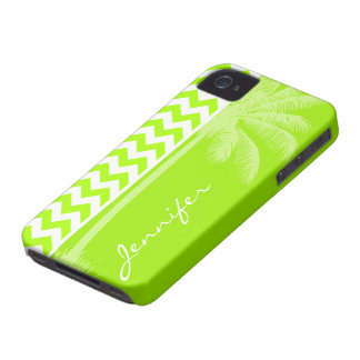 Verde lima de neón eléctrica Chevron Palma tropic Case-Mate iPhone 4 Cobertura