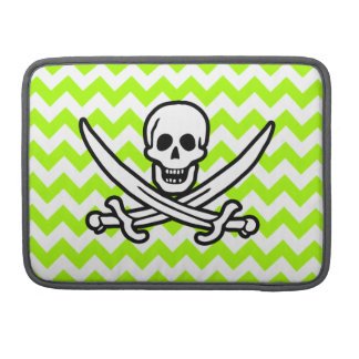 Verde lima de neón eléctrica Chevron; Pirata Funda Para Macbooks