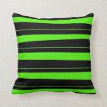 Verde lima de neón fresca y modelo rayado negro almohadas