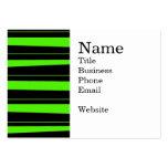 Verde lima de neón fresca y modelo rayado negro plantilla de tarjeta de visita