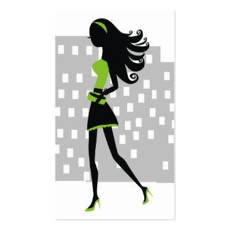 verde lima del chica el | de la ciudad 311-Stylish Tarjetas De Visita