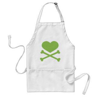 verde lima del corazón y de la bandera pirata delantal