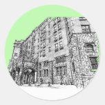 Verde lima del hotel de Thayer Pegatina Redonda