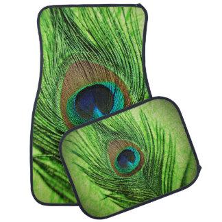 Verde lima del pavo real alfombrilla de coche