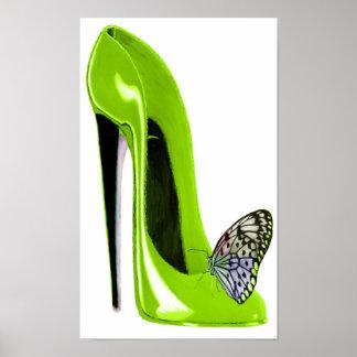 Verde lima e impresión del arte de la mariposa posters