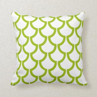 Verde lima el | blanca geométrica de las escalas cojín decorativo