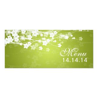 """Verde lima elegante de la flor de cerezo del menú invitación 4"""" x 9.25"""""""