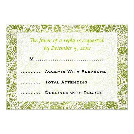 Verde lima elegante del modelo de RSVP que se casa Invitaciones Personales