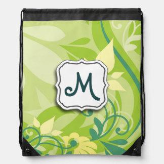 Verde lima floral del remolino abstracto con el mo mochila