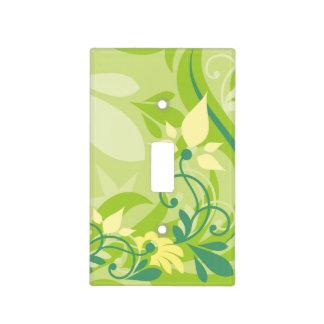 Verde lima floral del remolino abstracto con el mo placas para interruptor