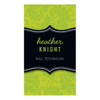 Verde lima fresca del negro del flourish de la tarjeta de visita