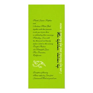 Verde lima hebrea de la invitación del boda judío