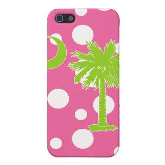 Verde lima/iPhone rosado 4 de la luna del Palmetto iPhone 5 Fundas