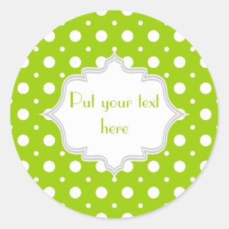 Verde lima moderna, personalizado blanco del pegatina redonda