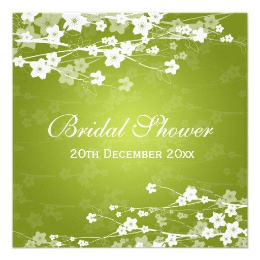 Verde lima nupcial elegante de la flor de cerezo d invitación personalizada