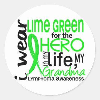 Verde lima para el linfoma de la abuela del héroe pegatina redonda