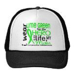 Verde lima para el linfoma de la mamá del héroe 2 gorros bordados