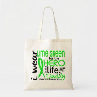 Verde lima para el linfoma del papá del héroe 2 bolsa tela barata