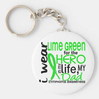 Verde lima para el linfoma del papá del héroe 2 llavero redondo tipo pin