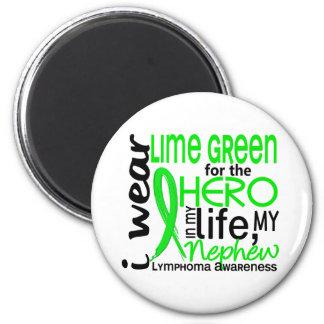 Verde lima para el linfoma del sobrino del héroe 2 imán redondo 5 cm