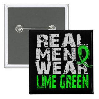 Verde lima real del desgaste de hombres de la enfe pin cuadrado