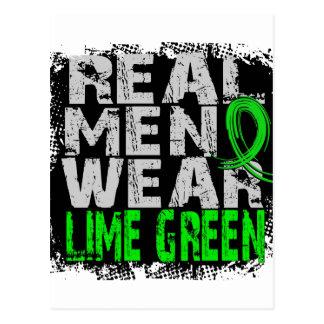 Verde lima real del desgaste de hombres del postales
