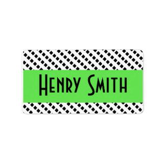 Verde lima retra con a cuadros blanco y negro etiqueta de dirección