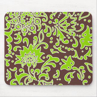 Verde lima retra floral moderna Brown del modelo Alfombrilla De Ratón
