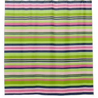 Verde lima, rosa y raya de muy buen gusto de la cortina de baño