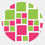 Verde lima/rosas fuertes cuadradas del arte del di etiqueta
