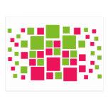 Verde lima/rosas fuertes cuadradas del arte del di tarjeta postal